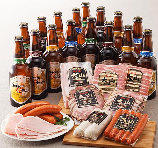大山Gビールと大山ハムセット
